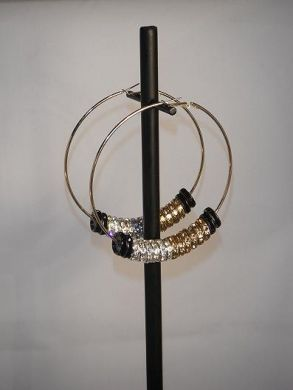 Black, Silver, and Gold Basketball Wives Earrings