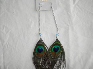 Peacock Feather Earrings-Long